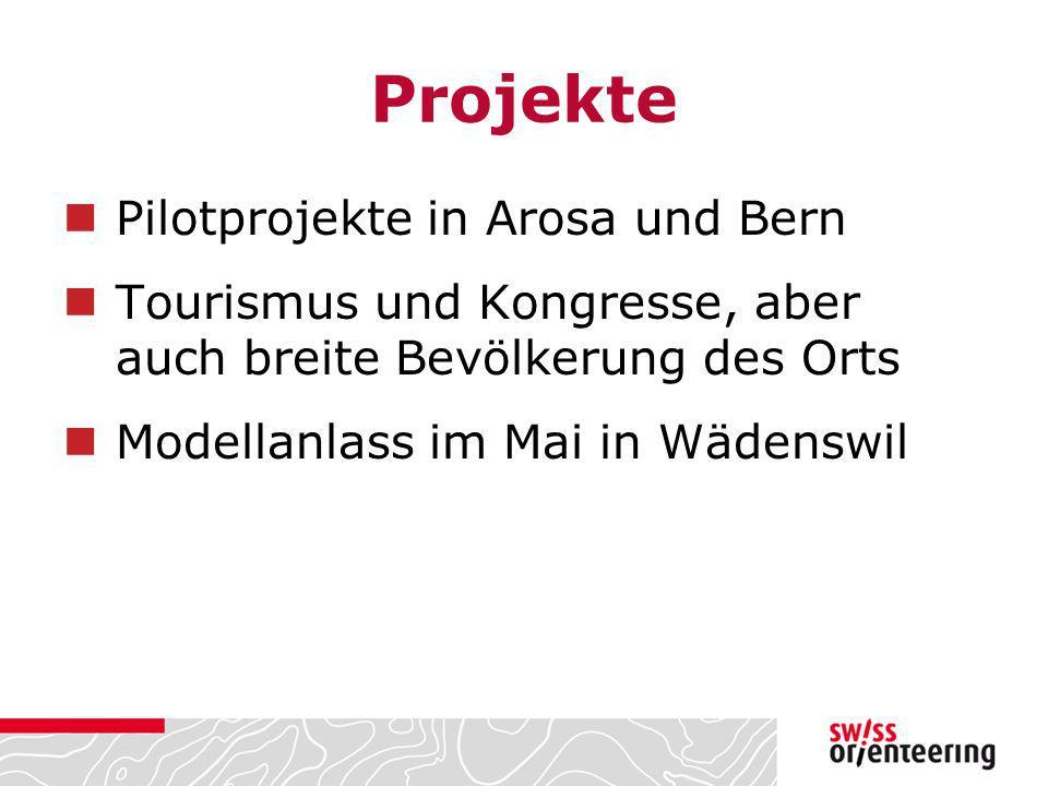 Projekte Pilotprojekte in Arosa und Bern Tourismus und Kongresse, aber auch breite Bevölkerung des Orts Modellanlass im Mai in Wädenswil