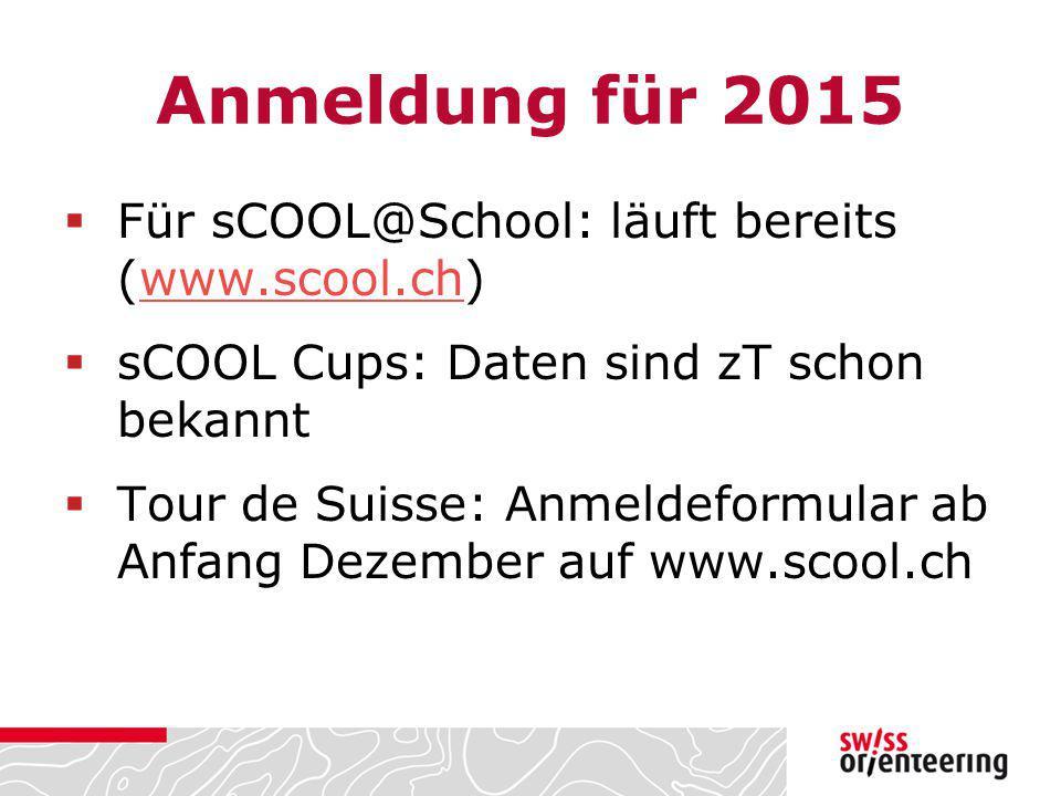 Anmeldung für 2015  Für sCOOL@School: läuft bereits (www.scool.ch)www.scool.ch  sCOOL Cups: Daten sind zT schon bekannt  Tour de Suisse: Anmeldefor