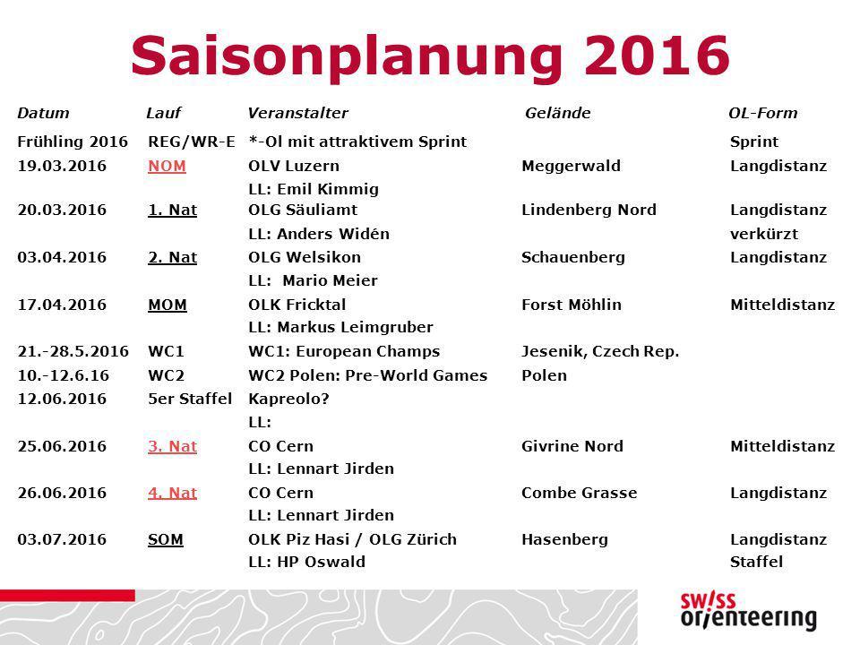 Saisonplanung 2016 Frühling 2016REG/WR-E*-Ol mit attraktivem Sprint Sprint 19.03.2016NOMOLV LuzernMeggerwaldLangdistanz LL: Emil Kimmig 20.03.20161. N