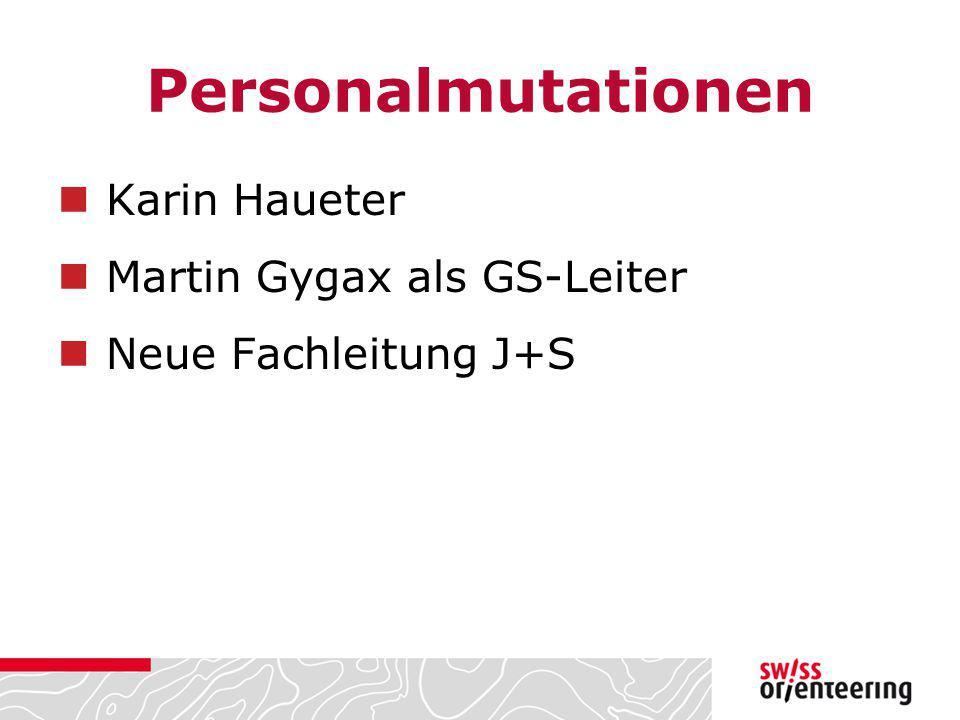 Personalmutationen Karin Haueter Martin Gygax als GS-Leiter Neue Fachleitung J+S