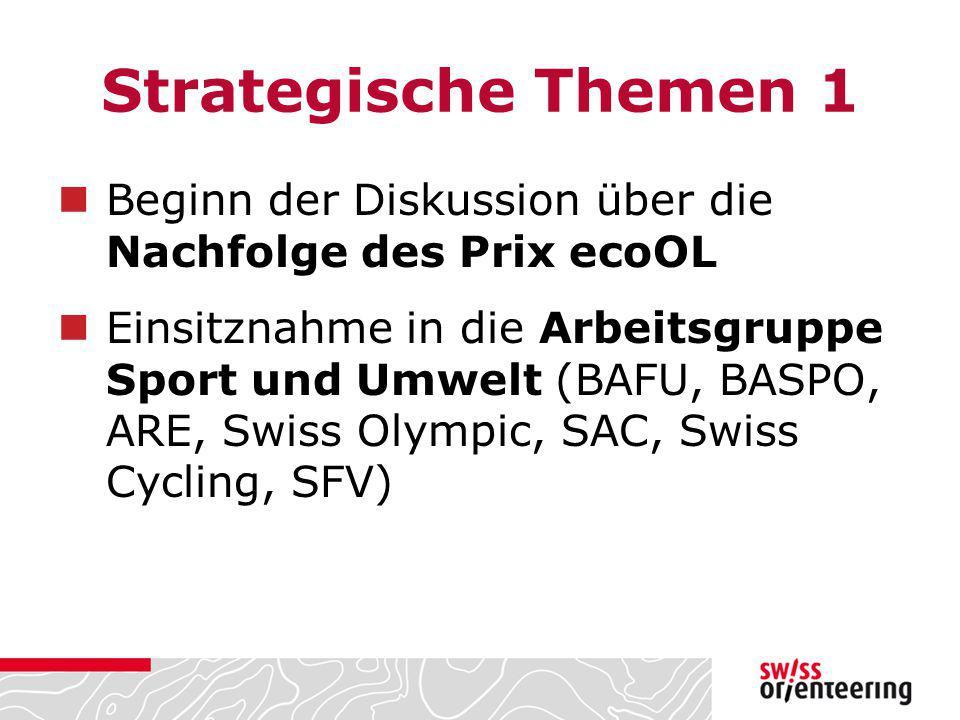 Strategische Themen 1 Beginn der Diskussion über die Nachfolge des Prix ecoOL Einsitznahme in die Arbeitsgruppe Sport und Umwelt (BAFU, BASPO, ARE, Sw