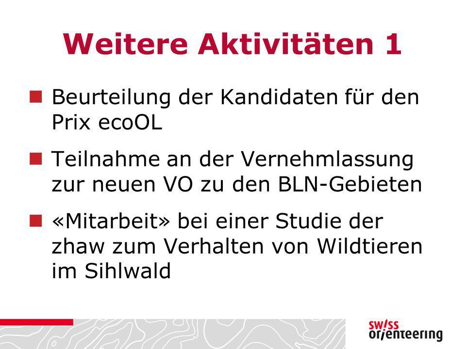 Weitere Aktivitäten 1 Beurteilung der Kandidaten für den Prix ecoOL Teilnahme an der Vernehmlassung zur neuen VO zu den BLN-Gebieten «Mitarbeit» bei e