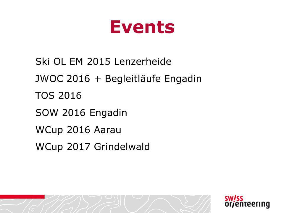 Events Ski OL EM 2015 Lenzerheide JWOC 2016 + Begleitläufe Engadin TOS 2016 SOW 2016 Engadin WCup 2016 Aarau WCup 2017 Grindelwald
