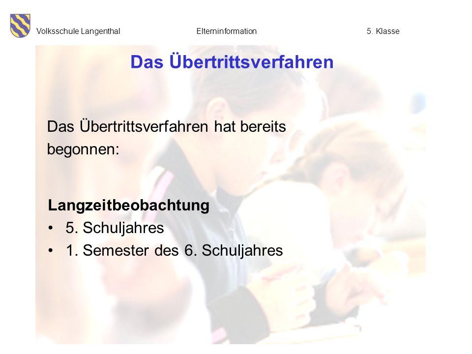 Volksschule Langenthal Elterninformation5. Klasse Das Übertrittsverfahren Langzeitbeobachtung 5. Schuljahres 1. Semester des 6. Schuljahres Das Übertr