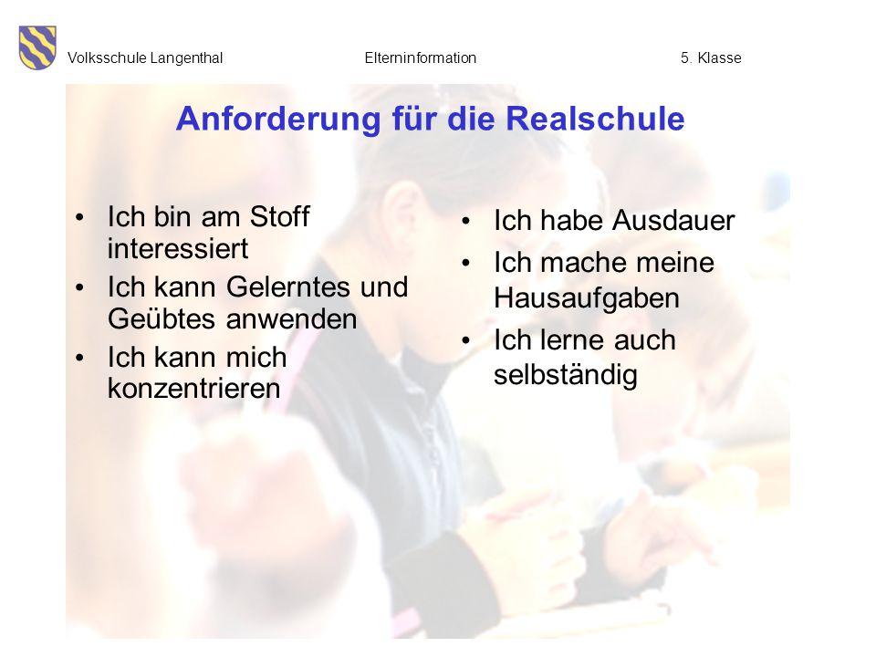 Volksschule Langenthal Elterninformation5. Klasse Anforderung für die Realschule Ich bin am Stoff interessiert Ich kann Gelerntes und Geübtes anwenden