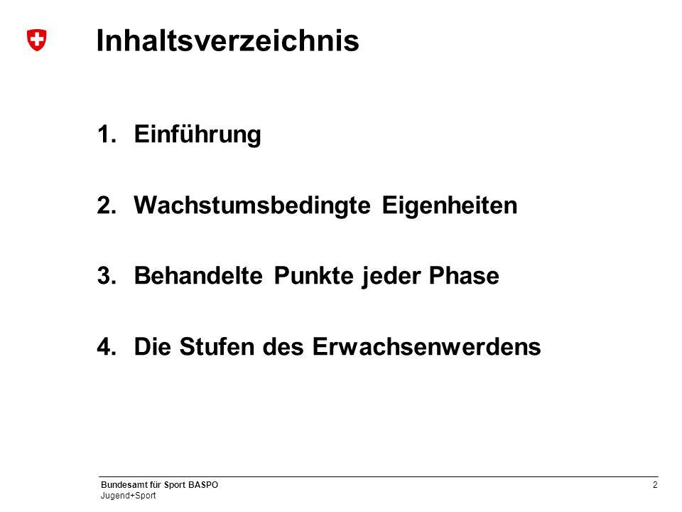 2 Bundesamt für Sport BASPO Jugend+Sport Inhaltsverzeichnis 1.Einführung 2.Wachstumsbedingte Eigenheiten 3.Behandelte Punkte jeder Phase 4.Die Stufen