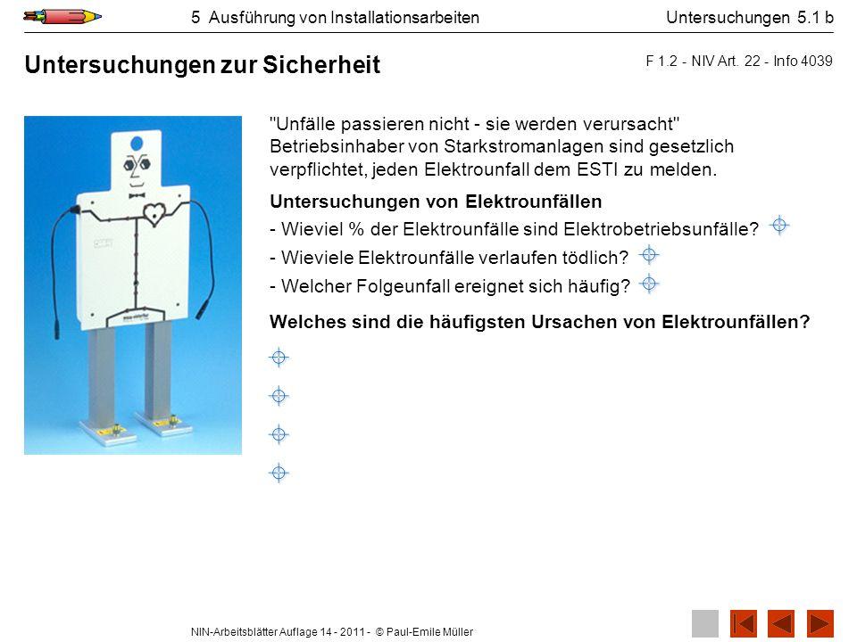 NIN-Arbeitsblätter Auflage 14 - 2011 - © Paul-Emile Müller 5 Ausführung von Installationsarbeiten Welches sind die häufigsten Ursachen von Elektrounfä