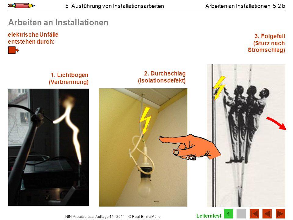 NIN-Arbeitsblätter Auflage 14 - 2011 - © Paul-Emile Müller 5 Ausführung von InstallationsarbeitenArbeiten an Installationen 5.2 b elektrische Unfälle
