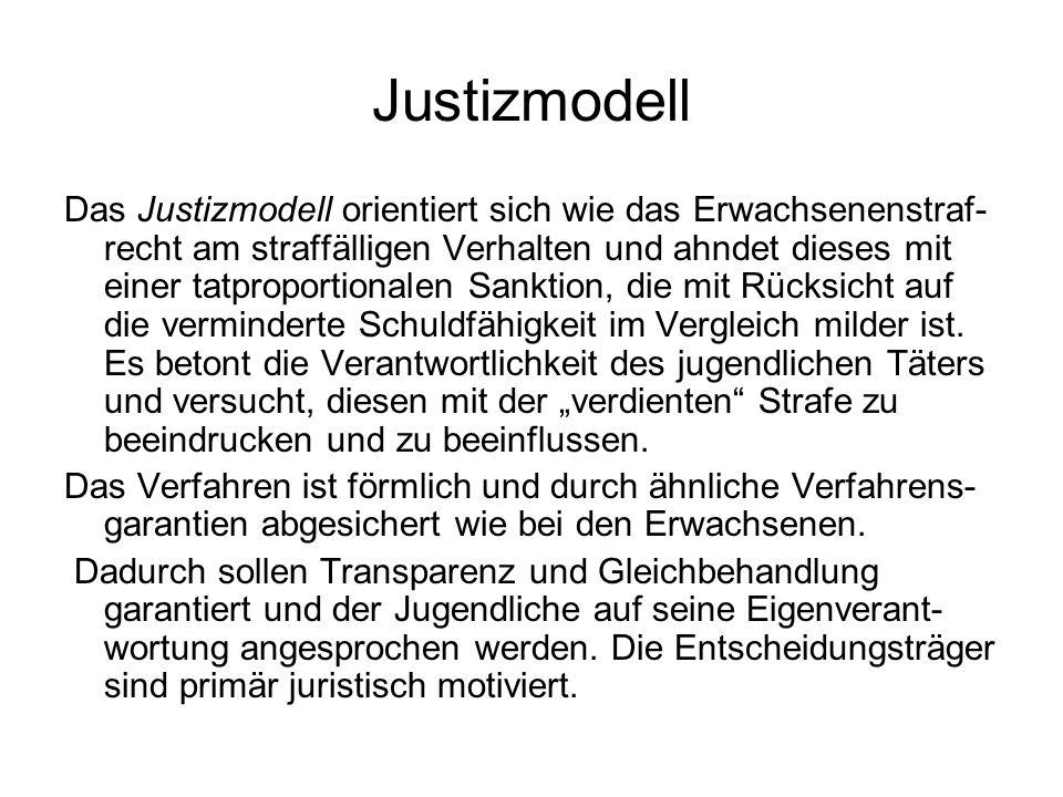 Justizmodell Das Justizmodell orientiert sich wie das Erwachsenenstraf- recht am straffälligen Verhalten und ahndet dieses mit einer tatproportionalen