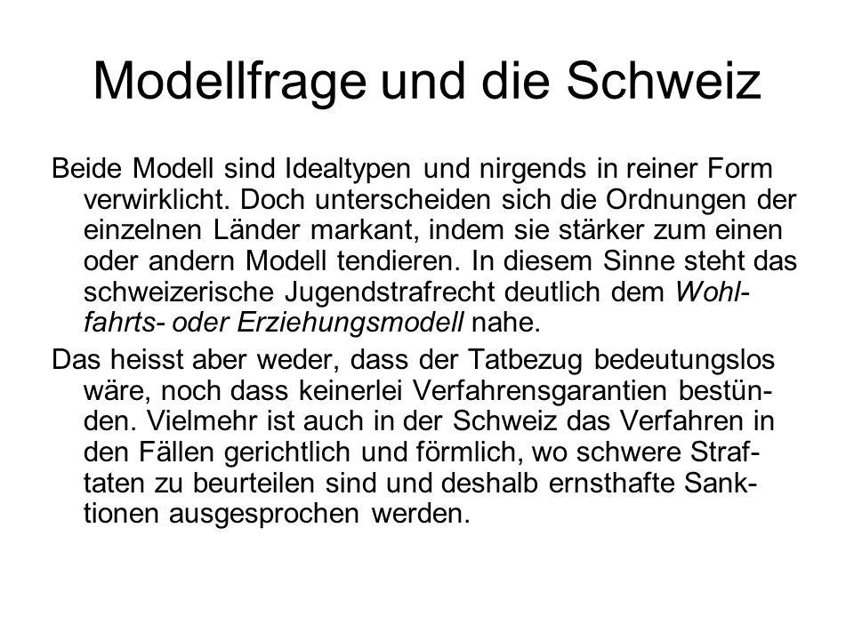Modellfrage und die Schweiz Beide Modell sind Idealtypen und nirgends in reiner Form verwirklicht. Doch unterscheiden sich die Ordnungen der einzelnen