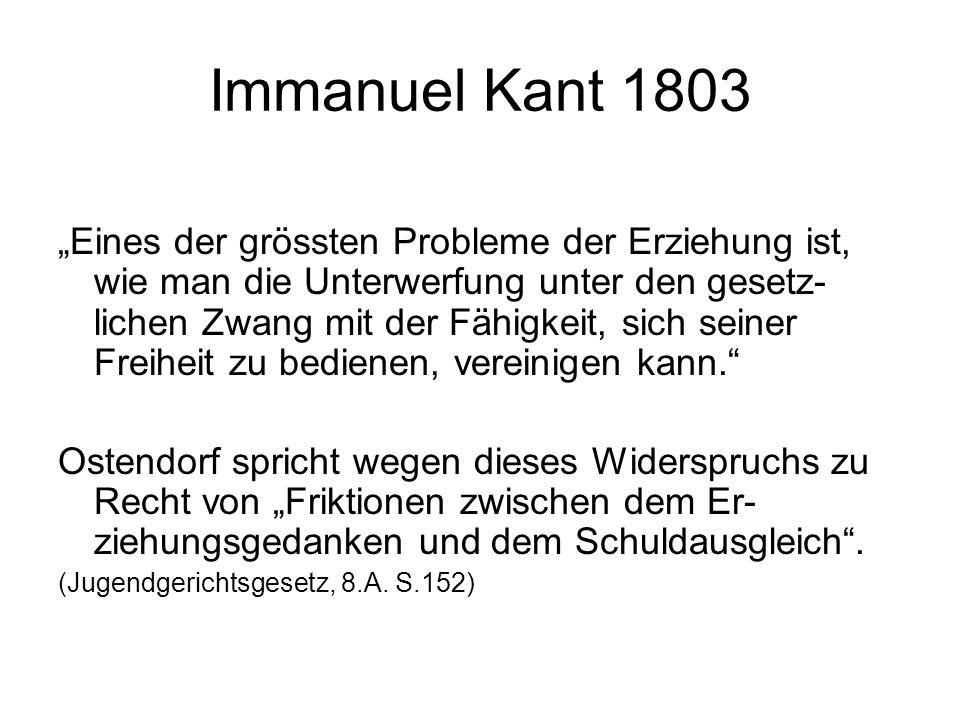 """Immanuel Kant 1803 """"Eines der grössten Probleme der Erziehung ist, wie man die Unterwerfung unter den gesetz- lichen Zwang mit der Fähigkeit, sich sei"""