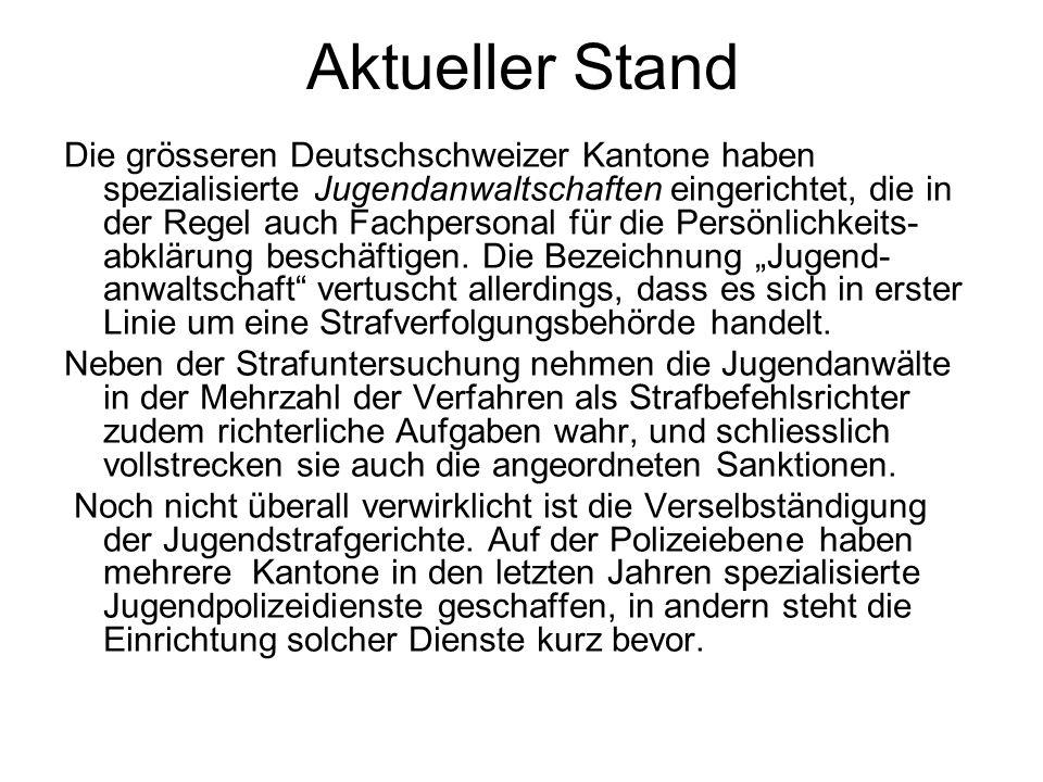 Aktueller Stand Die grösseren Deutschschweizer Kantone haben spezialisierte Jugendanwaltschaften eingerichtet, die in der Regel auch Fachpersonal für