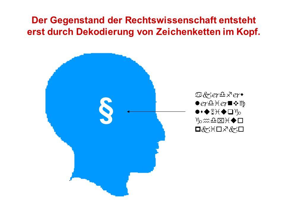      § Der Gegenstand der Rechtswissenschaft entsteht erst durch Dekodierung von Zeichenketten im Kopf.