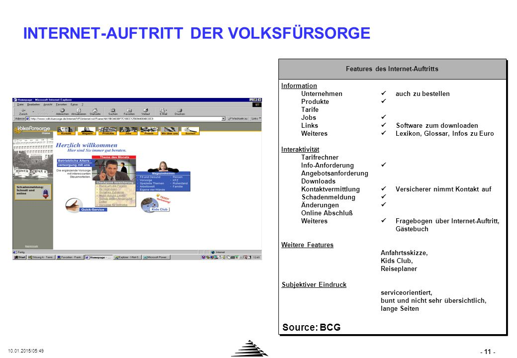 - 11 - 10.01.2015/05:50 INTERNET-AUFTRITT DER VOLKSFÜRSORGE Features des Internet-Auftritts Information Unternehmen auch zu bestellen Produkte Tarife