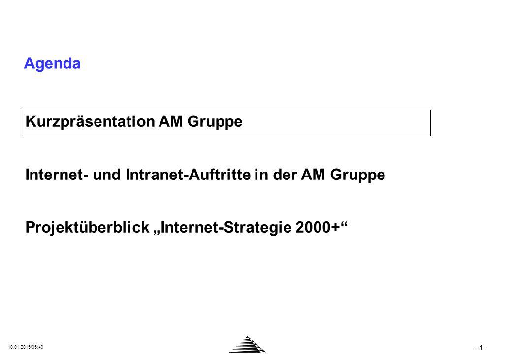 """- 1 - 10.01.2015/05:50 Agenda Kurzpräsentation AM Gruppe Internet- und Intranet-Auftritte in der AM Gruppe Projektüberblick """"Internet-Strategie 2000+"""""""