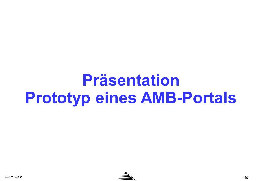 - 36 - 10.01.2015/05:50 Präsentation Prototyp eines AMB-Portals