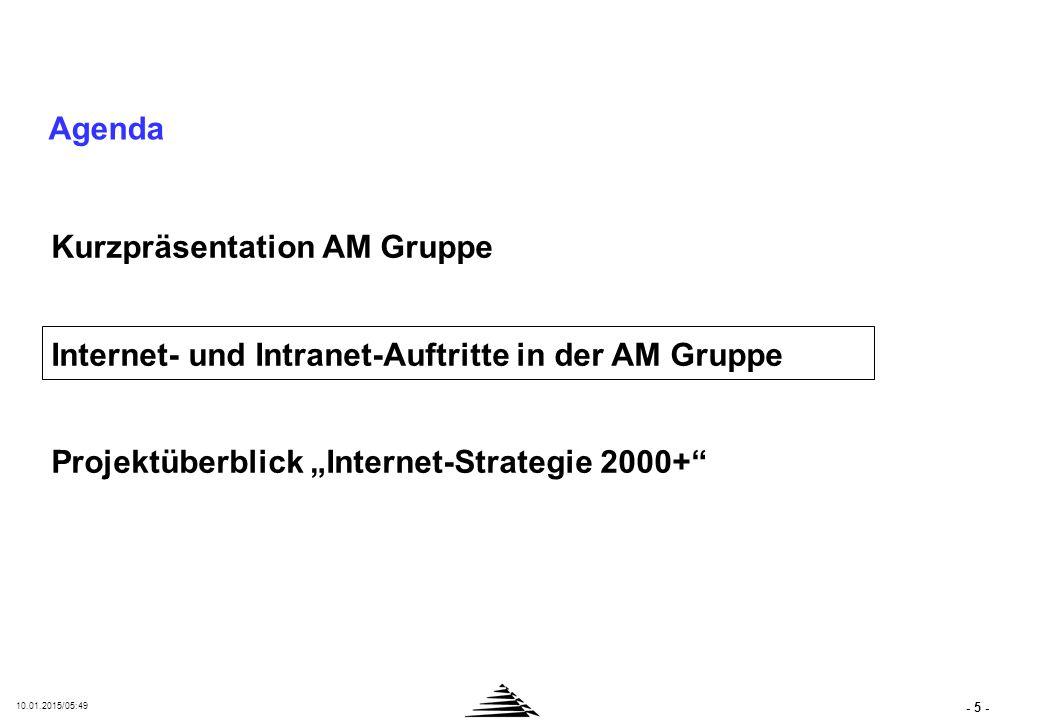 """- 5 - 10.01.2015/05:50 Agenda Kurzpräsentation AM Gruppe Internet- und Intranet-Auftritte in der AM Gruppe Projektüberblick """"Internet-Strategie 2000+"""""""