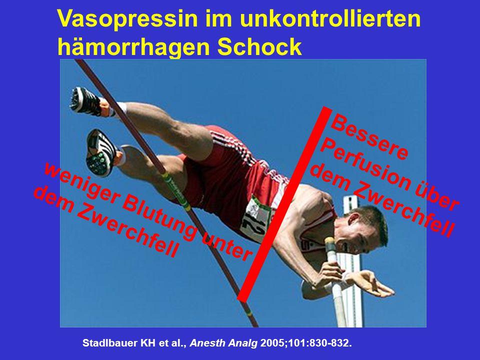 Vasopressin im unkontrollierten hämorrhagen Schock weniger Blutung unter dem Zwerchfell Bessere Perfusion über dem Zwerchfell Stadlbauer KH et al., An