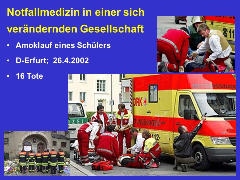 Notfallmedizin in einer sich verändernden Gesellschaft Amoklauf eines Schülers D-Erfurt; 26.4.2002 16 Tote