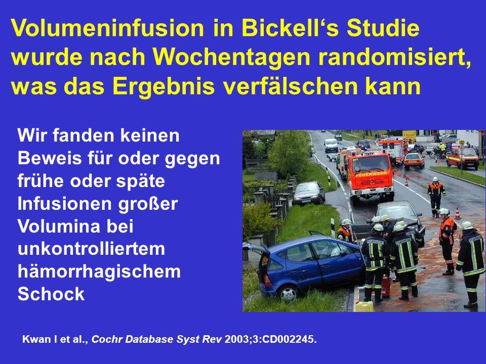 Volumeninfusion in Bickell's Studie wurde nach Wochentagen randomisiert, was das Ergebnis verfälschen kann Wir fanden keinen Beweis für oder gegen frü
