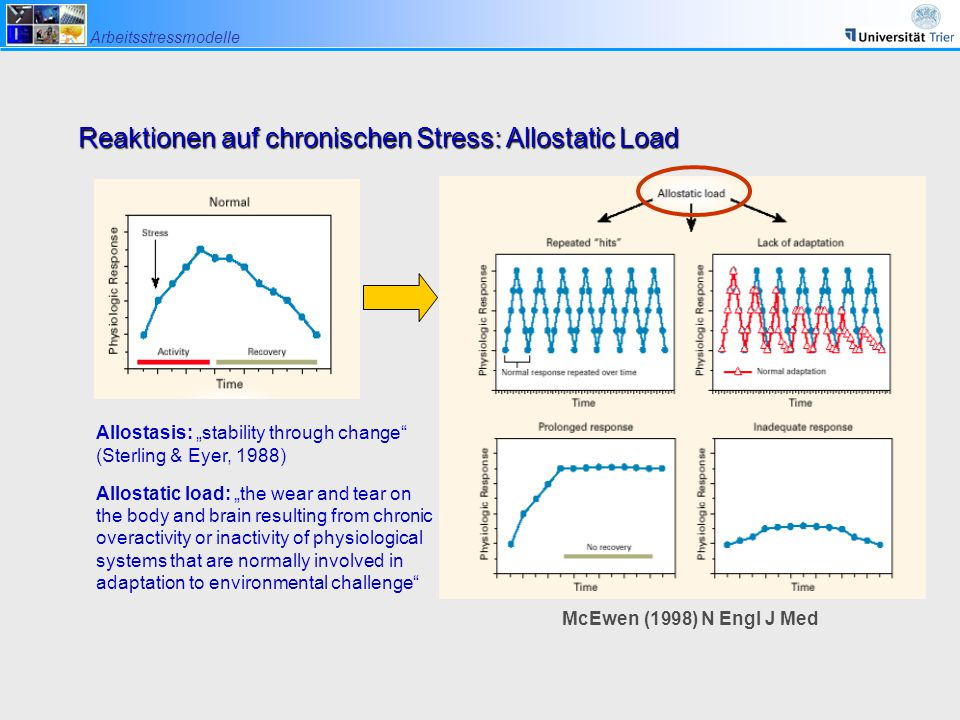 "Arbeitsstressmodelle McEwen (1998) N Engl J Med Reaktionen auf chronischen Stress: Allostatic Load Allostasis: ""stability through change"" (Sterling &"