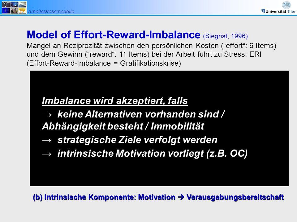 """Arbeitsstressmodelle Model of Effort-Reward-Imbalance (Siegrist, 1996) Mangel an Reziprozität zwischen den persönlichen Kosten (""""effort"""": 6 Items) und"""