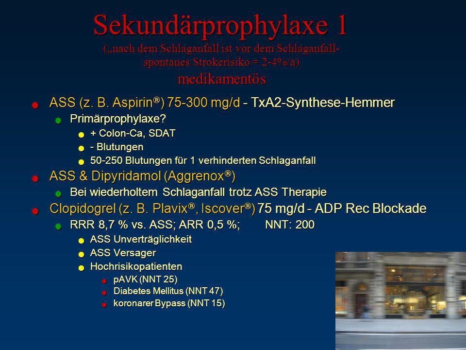 "Sekundärprophylaxe 1 (""nach dem Schlaganfall ist vor dem Schlaganfall- spontanes Strokerisiko = 2-4%/a) medikamentös ASS (z. B. Aspirin  ) 75-300 mg/"