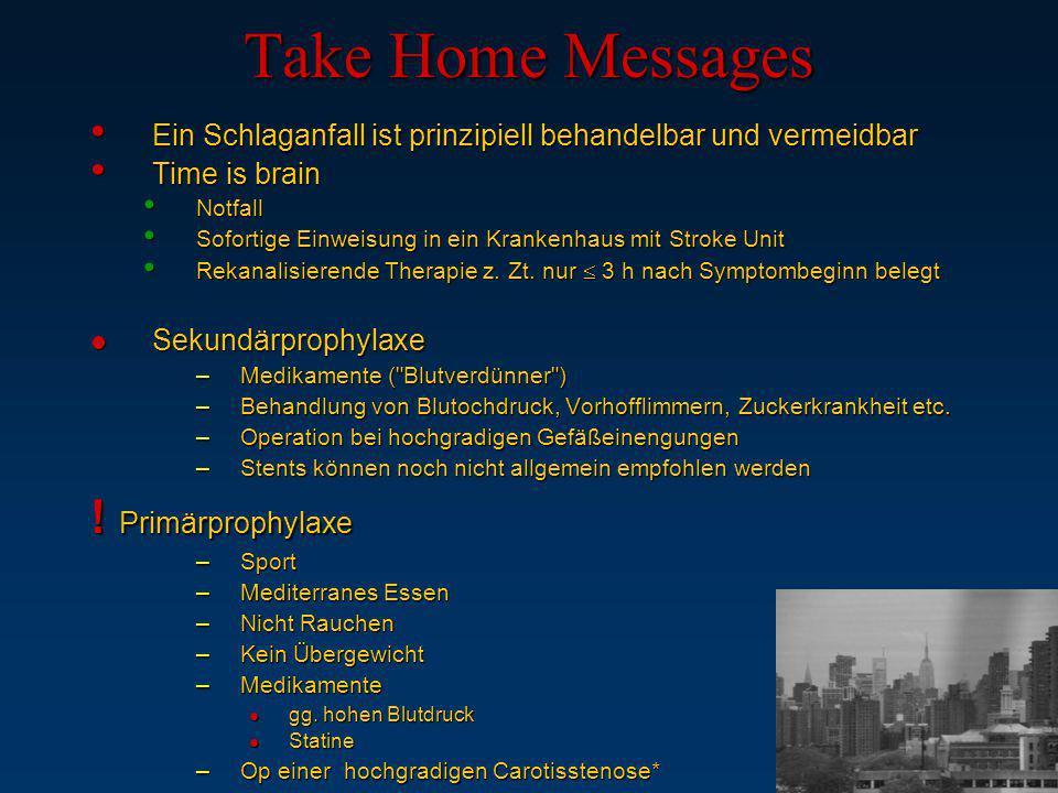 Take Home Messages Ein Schlaganfall ist prinzipiell behandelbar und vermeidbar Ein Schlaganfall ist prinzipiell behandelbar und vermeidbar Time is bra