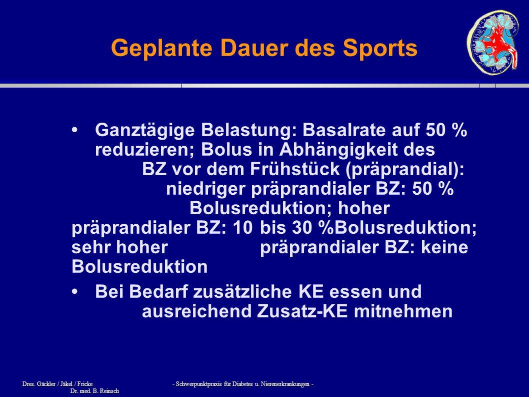 Dres. Gäckler / Jäkel / Fricke - Schwerpunktpraxis für Diabetes u. Nierenerkrankungen - Dr. med. B. Reinsch Geplante Dauer des Sports Ganztägige Belas