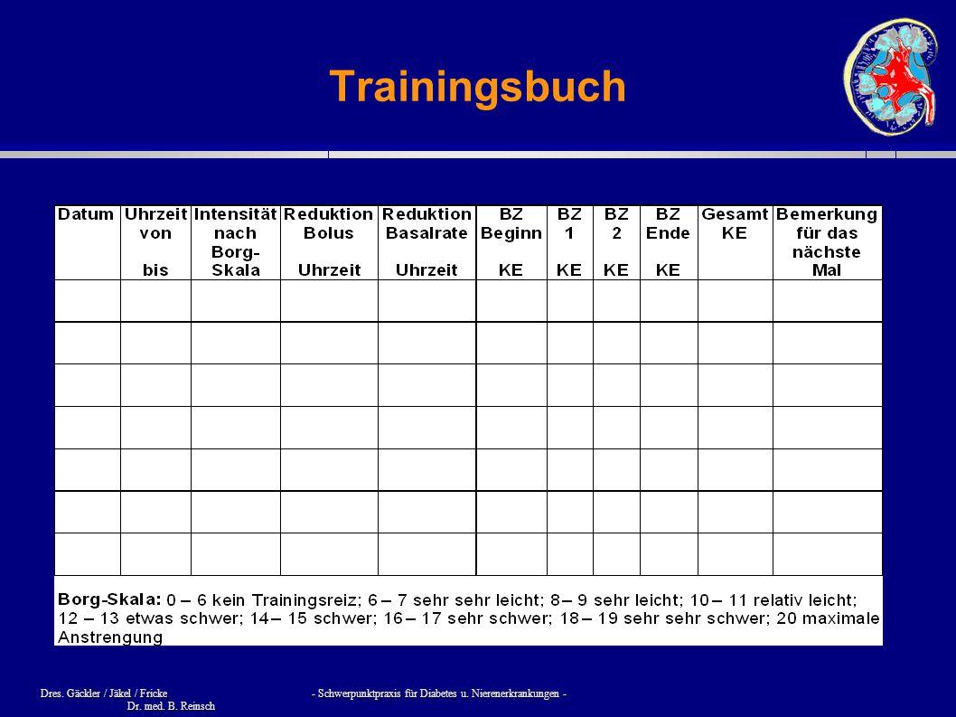 Dres. Gäckler / Jäkel / Fricke - Schwerpunktpraxis für Diabetes u. Nierenerkrankungen - Dr. med. B. Reinsch Trainingsbuch