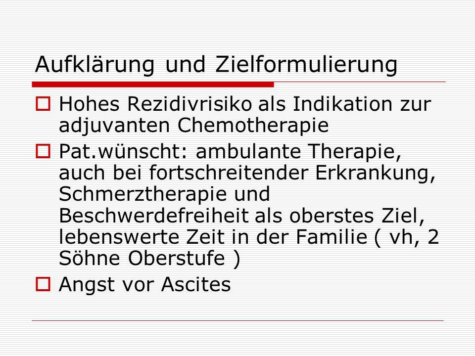 Therapie und Verlauf  12.04 – 04.05 6 Zyklen Carboplat / Taxol  02.05 Ca 12-5 10 (N>35)  08.05 Ca 12-5 4  10.05 Ca 12-5 30; Partnerschaftsprobleme; Besprechung Rezidiv keine Therapie, da klin.