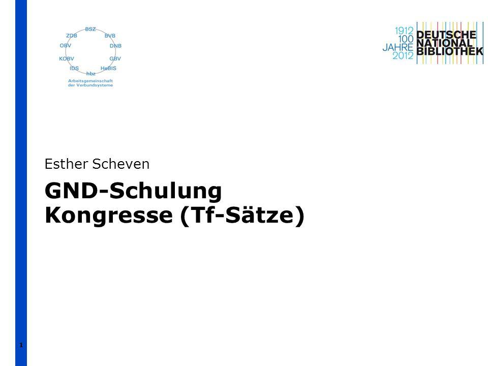 Übersicht 1.Format und Codes (mit Beispielen) 2.GND-Übergangsregeln und Anwendungsbestimmungen 3.Indexierung und Suche   Esther Scheven   GND-Schulung Kongresse   April 2012 2
