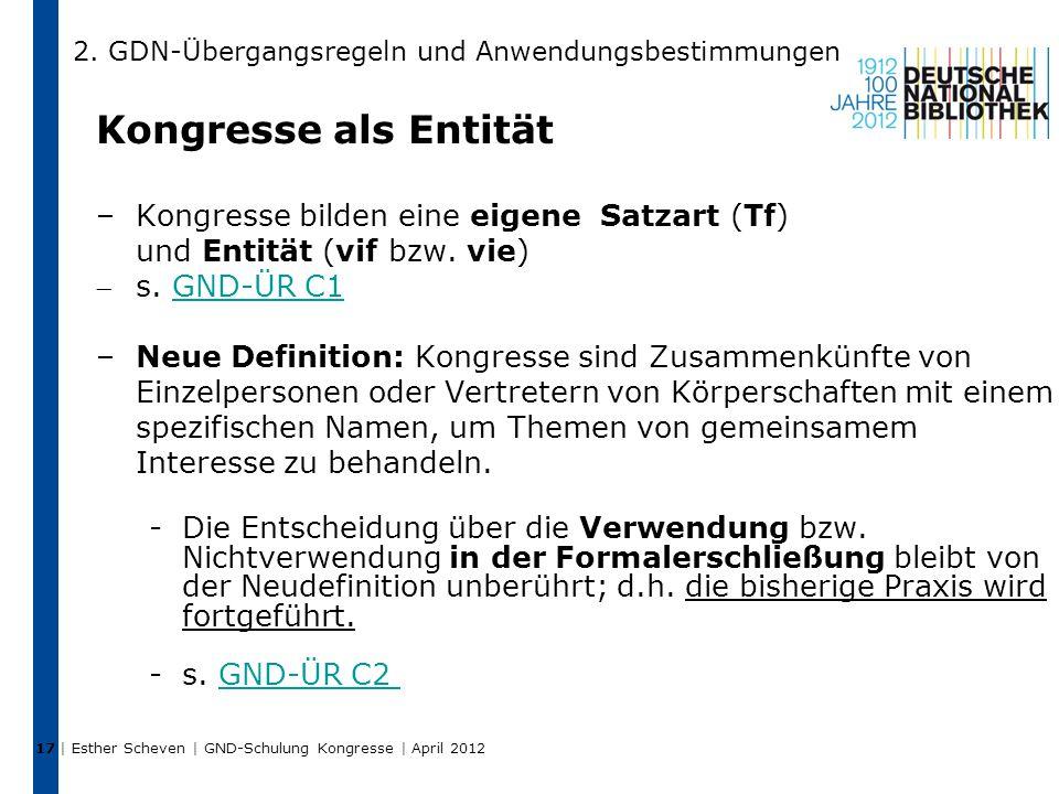 Kongresse als Entität –Kongresse bilden eine eigene Satzart (Tf) und Entität (vif bzw.
