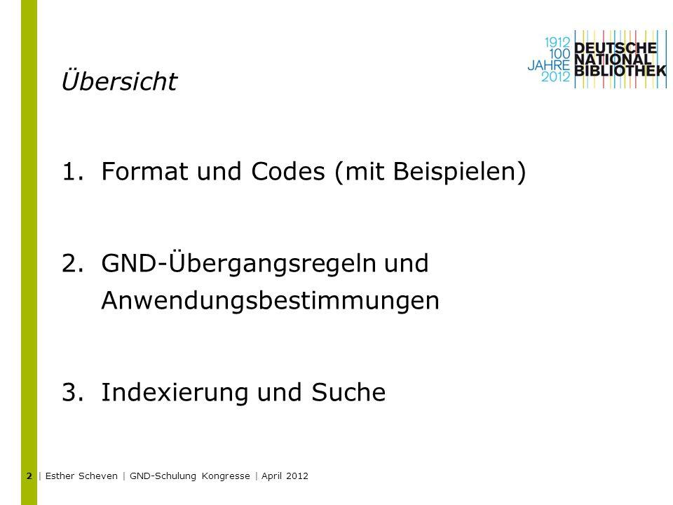 Übersicht 1.Format und Codes (mit Beispielen) 2.GND-Übergangsregeln und Anwendungsbestimmungen 3.Indexierung und Suche | Esther Scheven | GND-Schulung Kongresse | April 2012 2