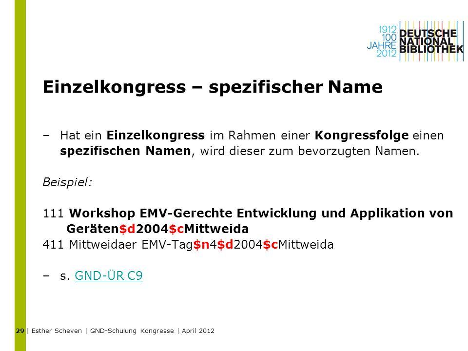 Einzelkongress – spezifischer Name –Hat ein Einzelkongress im Rahmen einer Kongressfolge einen spezifischen Namen, wird dieser zum bevorzugten Namen.