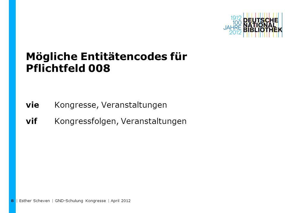 Mögliche Entitätencodes für Pflichtfeld 008 vie Kongresse, Veranstaltungen vif Kongressfolgen, Veranstaltungen | Esther Scheven | GND-Schulung Kongresse | April 2012 8