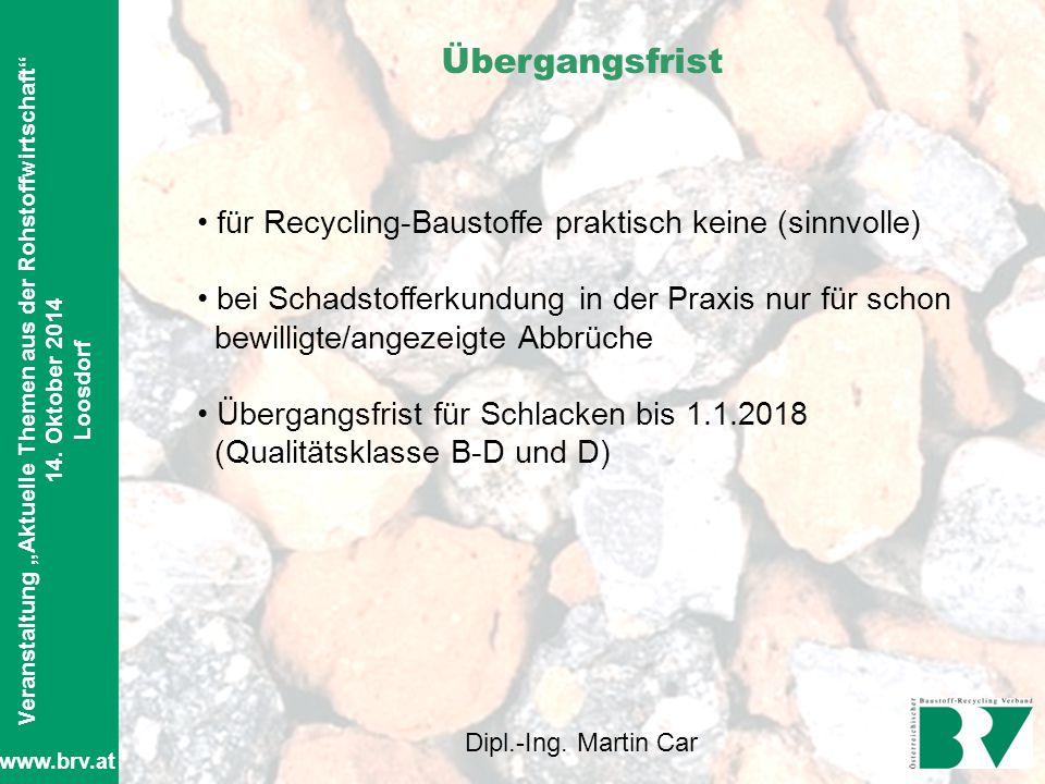 """AUSBILDUNGSKURS """" A B B R U C H A R B E I T E N """" Veranstaltung """"Aktuelle Themen aus der Rohstoffwirtschaft"""" 14. Oktober 2014 Loosdorf Dipl.-Ing. Mart"""
