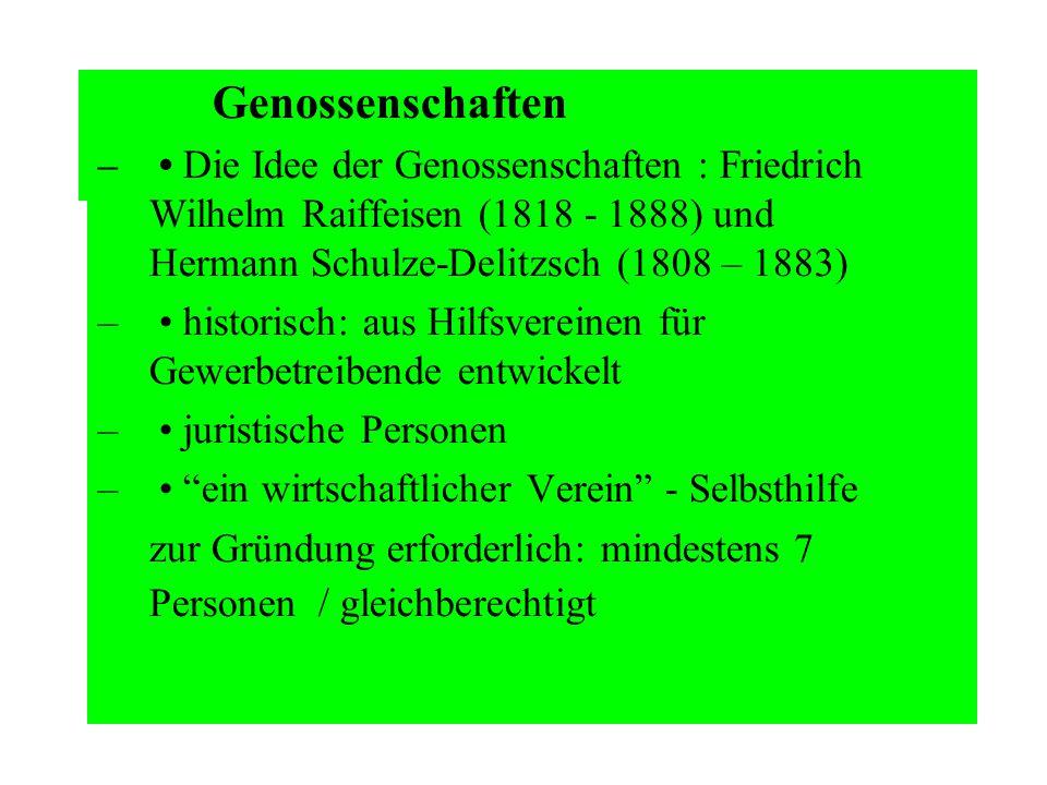 Genossenschaften – Die Idee der Genossenschaften : Friedrich Wilhelm Raiffeisen (1818 - 1888) und Hermann Schulze-Delitzsch (1808 – 1883) – historisch