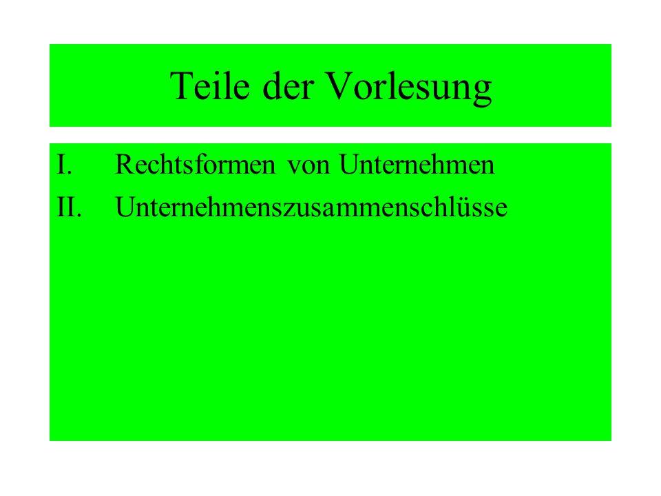 Teile der Vorlesung I.Rechtsformen von Unternehmen II.Unternehmenszusammenschlüsse