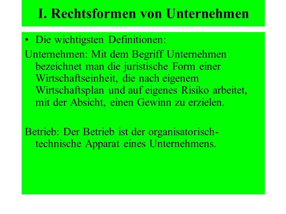 I. Rechtsformen von Unternehmen Die wichtigsten Definitionen: Unternehmen: Mit dem Begriff Unternehmen bezeichnet man die juristische Form einer Wirts