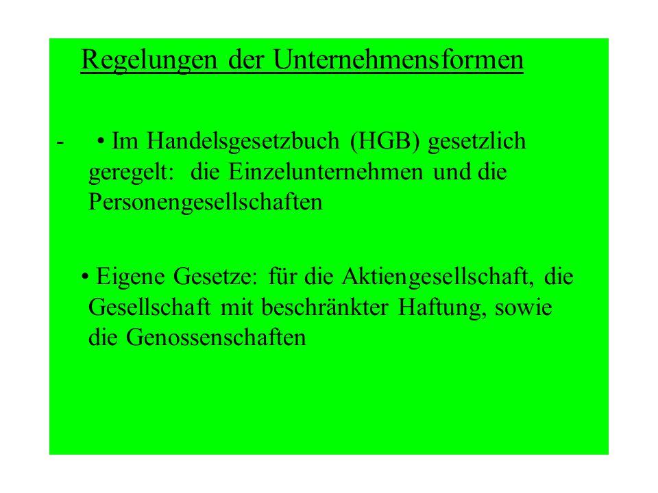 Regelungen der Unternehmensformen - Im Handelsgesetzbuch (HGB) gesetzlich geregelt: die Einzelunternehmen und die Personengesellschaften Eigene Gesetz