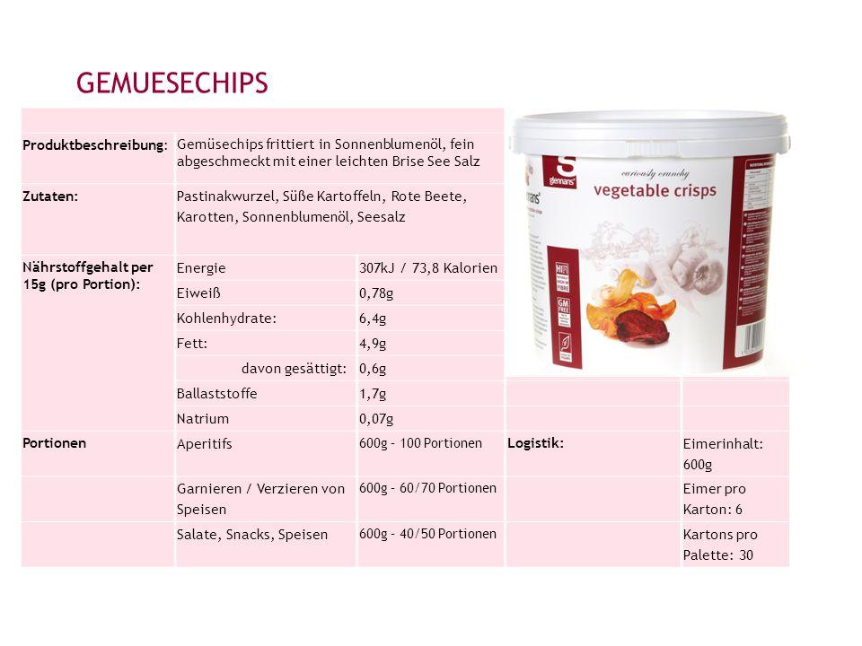 GEMUESECHIPS Produktbeschreibung: Gemüsechips frittiert in Sonnenblumenöl, fein abgeschmeckt mit einer leichten Brise See Salz Zutaten: Pastinakwurzel, Süße Kartoffeln, Rote Beete, Karotten, Sonnenblumenöl, Seesalz Nährstoffgehalt per 15g (pro Portion): Energie307kJ / 73,8 Kalorien Eiweiß0,78g Kohlenhydrate:6,4g Fett:4,9g davon gesättigt:0,6g Ballaststoffe1,7g Natrium0,07g Portionen Aperitifs 600g – 100 Portionen Logistik: Eimerinhalt: 600g Garnieren / Verzieren von Speisen 600g – 60/70 Portionen Eimer pro Karton: 6 Salate, Snacks, Speisen 600g – 40/50 Portionen Kartons pro Palette: 30