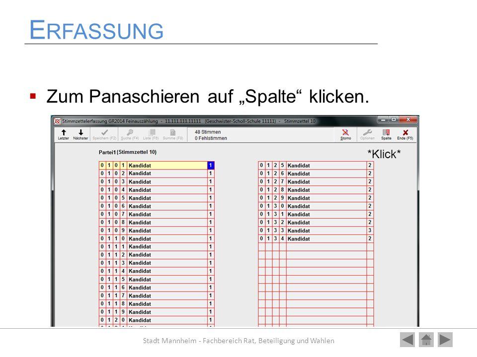 """E RFASSUNG  Zum Panaschieren auf """"Spalte"""" klicken. Stadt Mannheim - Fachbereich Rat, Beteiligung und Wahlen *Klick*"""