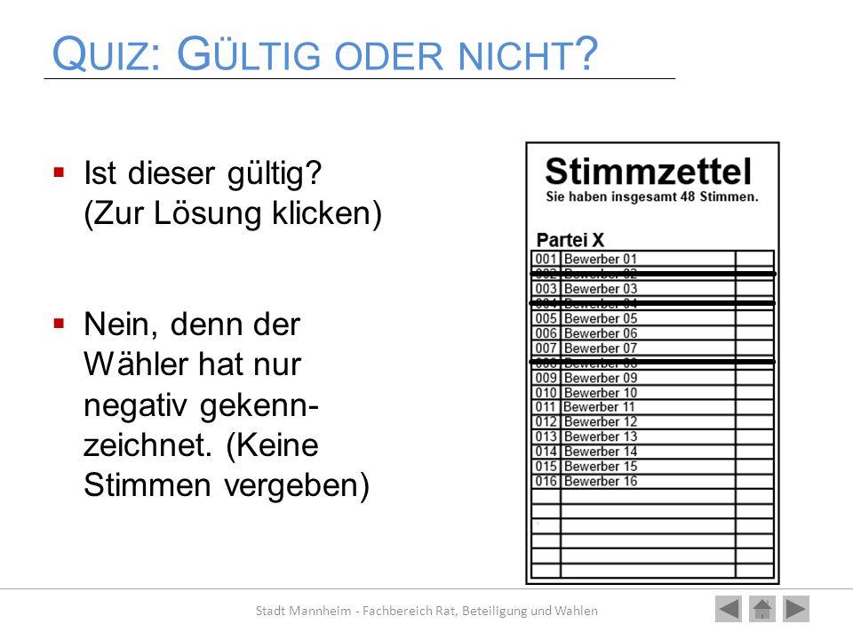 Q UIZ : G ÜLTIG ODER NICHT ?  Ist dieser gültig? (Zur Lösung klicken)  Nein, denn der Wähler hat nur negativ gekenn- zeichnet. (Keine Stimmen vergeb