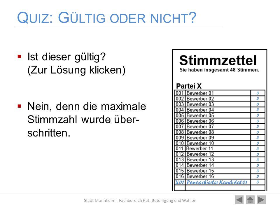 Q UIZ : G ÜLTIG ODER NICHT ?  Ist dieser gültig? (Zur Lösung klicken)  Nein, denn die maximale Stimmzahl wurde über- schritten. Stadt Mannheim - Fac