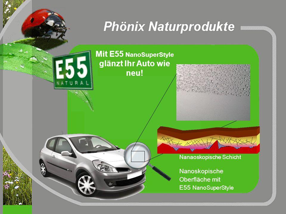 vergrößerte Aufnahme (400x) einer mit E55 behandelten Lackoberfläche Luminizenz durch Proteine die sich in Mikrokratzern und Rissen festgesetzt haben