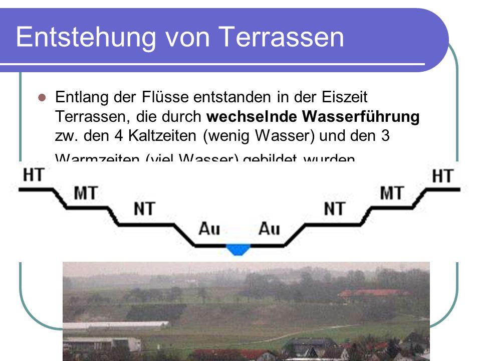Entstehung von Terrassen Entlang der Flüsse entstanden in der Eiszeit Terrassen, die durch wechselnde Wasserführung zw.
