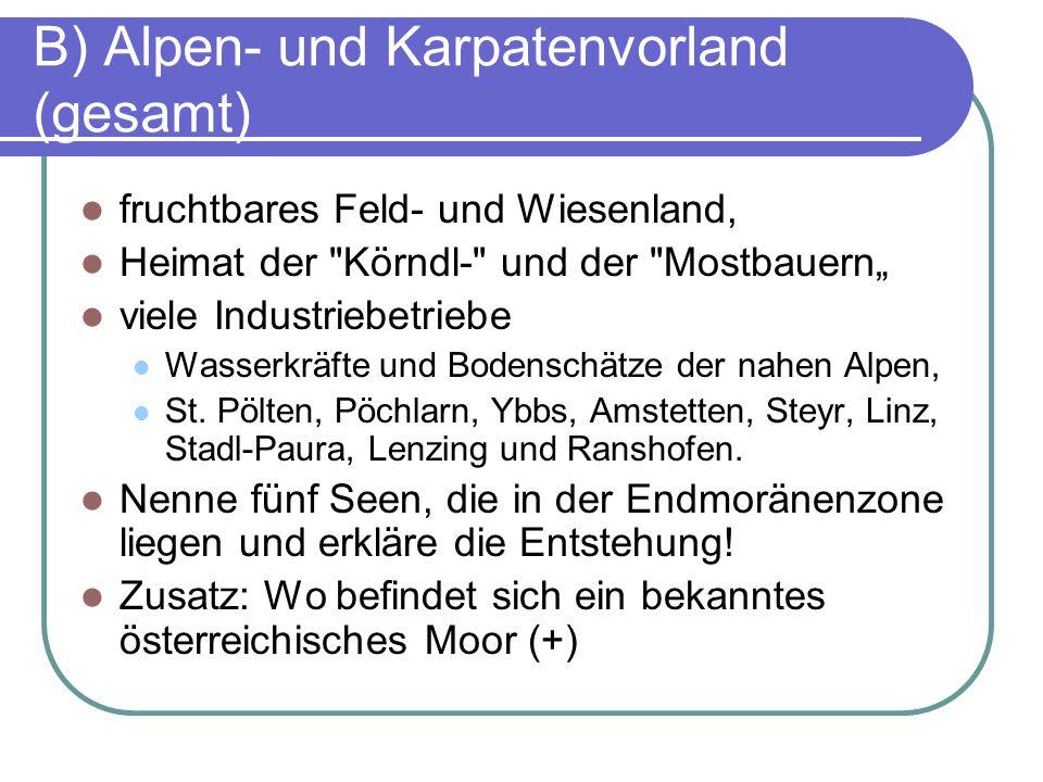 """B) Alpen- und Karpatenvorland (gesamt) fruchtbares Feld- und Wiesenland, Heimat der Körndl- und der Mostbauern"""" viele Industriebetriebe Wasserkräfte und Bodenschätze der nahen Alpen, St."""