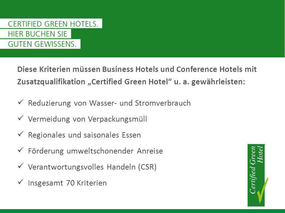 """Diese Kriterien müssen Business Hotels und Conference Hotels mit Zusatzqualifikation """"Certified Green Hotel u."""