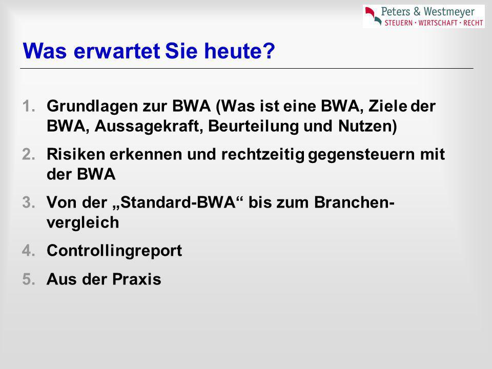 Was erwartet Sie heute? 1.Grundlagen zur BWA (Was ist eine BWA, Ziele der BWA, Aussagekraft, Beurteilung und Nutzen) 2.Risiken erkennen und rechtzeiti